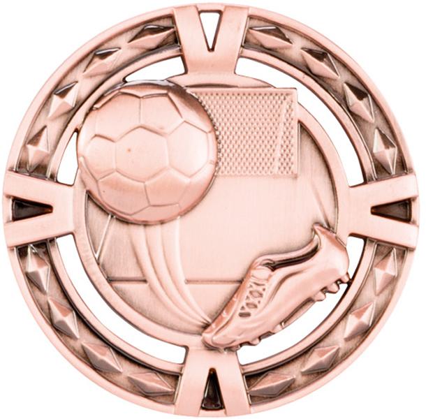 "Bronze Diamond Pattern Football Boot & Ball Medal 60mm (2.25"")"