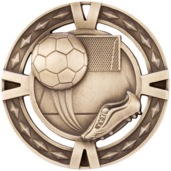 "Gold Diamond Pattern Football Boot & Ball Medal 60mm (2.25"")"