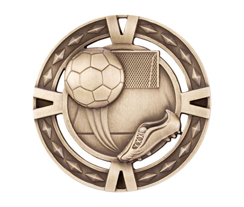 "Gold Diamond Pattern Football Boot & Ball Medal 60mm (2.25"")"