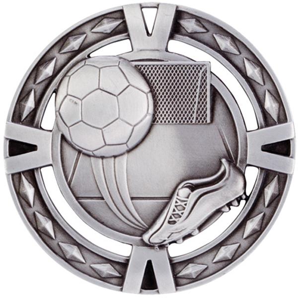"Silver Diamond Pattern Football Boot & Ball Medal 6cm (2.25"")"
