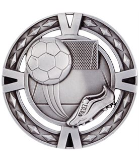 "Silver Diamond Pattern Football Boot & Ball Medal 60mm (2.25"")"