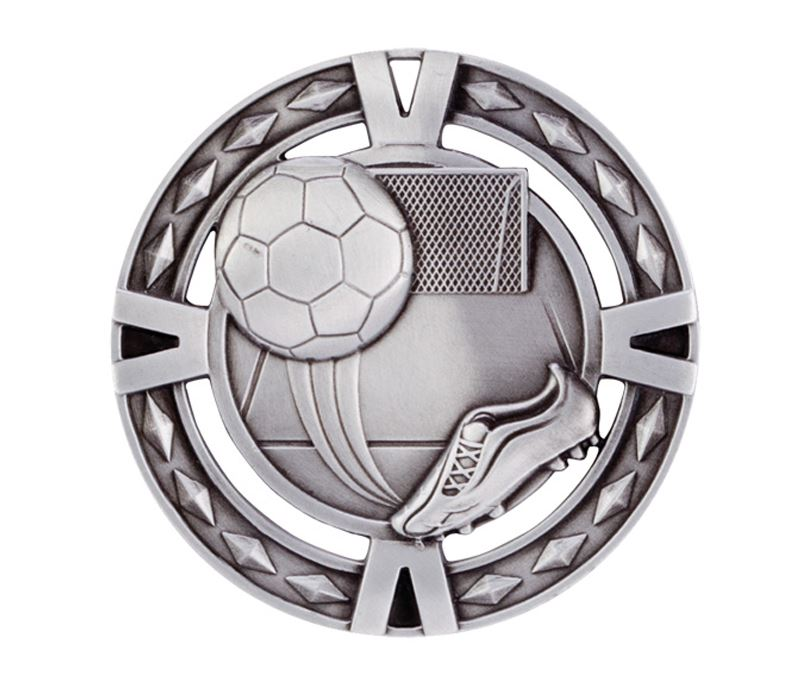 "Silver Diamond Pattern Football Boot & Ball Medal 60mm (2.25"")"