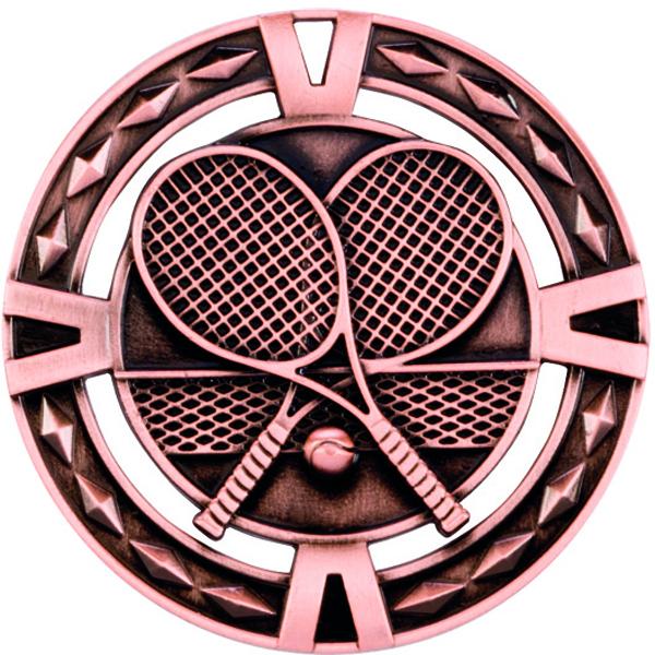 "Bronze Diamond Pattern Tennis Medal 60mm (2.25"")"