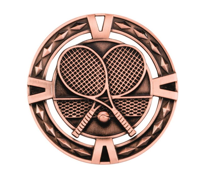 "Bronze Diamond Pattern Tennis Medal 60mm (2.25"")"