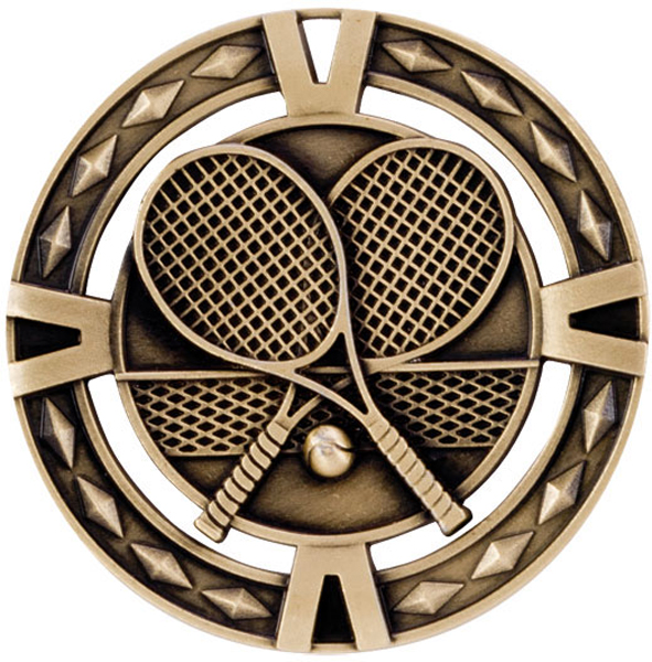 "Gold Diamond Pattern Tennis Medal 60mm (2.25"")"