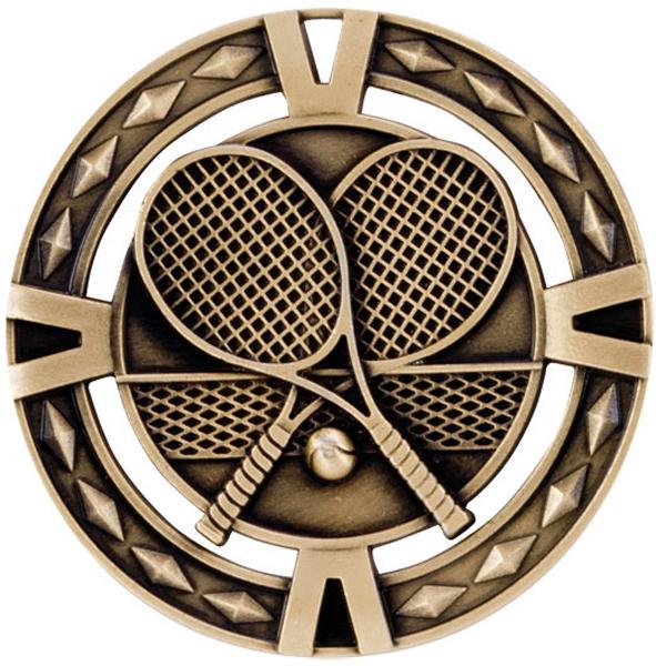 "Gold Diamond Pattern Tennis Medal 6cm (2.25"")"
