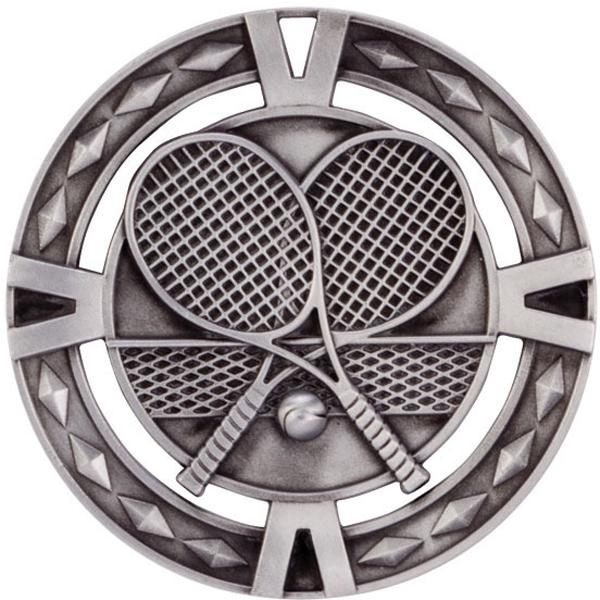 "Silver Diamond Pattern Tennis Medal 6cm (2.25"")"