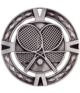 "Silver Diamond Pattern Tennis Medal 60mm (2.25"")"