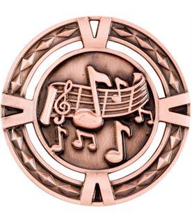 "Bronze Diamond Pattern Music Medal 60mm (2.25"")"