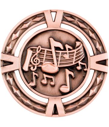 "Bronze Diamond Pattern Music Medal 60mm (2.25"")"
