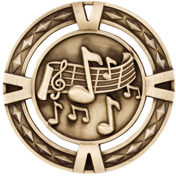 "Gold Diamond Pattern Music Medal 60mm (2.25"")"