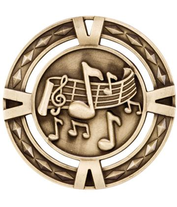 "Gold Diamond Pattern Music Medal 60mm (2.25"")"