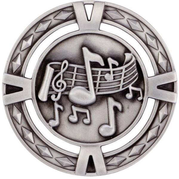 "Silver Diamond Pattern Music Medal 6cm (2.25"")"