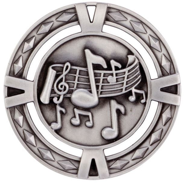 "Silver Diamond Pattern Music Medal 60mm (2.25"")"