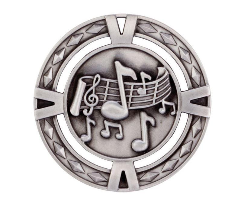 "Silver Diamond Pattern Music Medal 60mm (2.25"")"