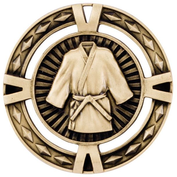 "Gold Diamond Pattern Martial Arts Medal 60mm (2.25"")"