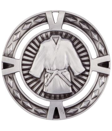 "Silver Diamond Pattern Martial Arts Medal 60mm (2.25"")"