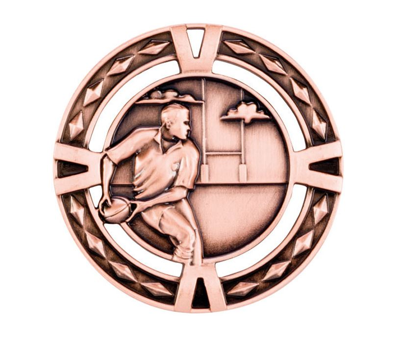 "Bronze Diamond Pattern Rugby Medal 60mm (2.25"")"