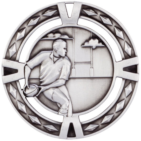 "Silver Diamond Pattern Rugby Medal 60mm (2.25"")"