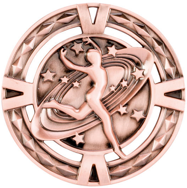 "Bronze Diamond Pattern Dance Medal 60mm (2.25"")"