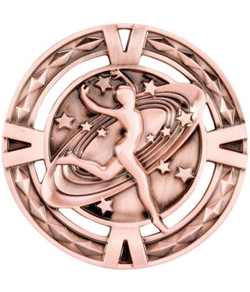 "Bronze Diamond Pattern Dance Medal 60mm (2.25"")"