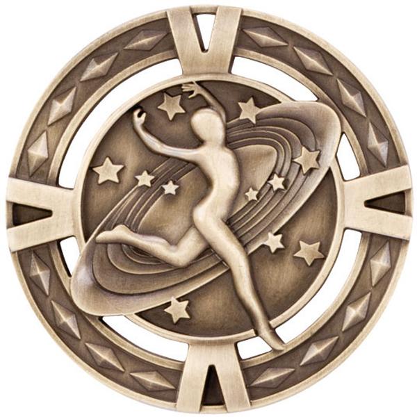 "Gold Diamond Pattern Dance Medal 60mm (2.25"")"