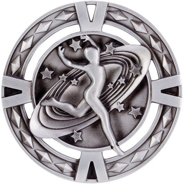 "Silver Diamond Pattern Dance Medal 60mm (2.25"")"