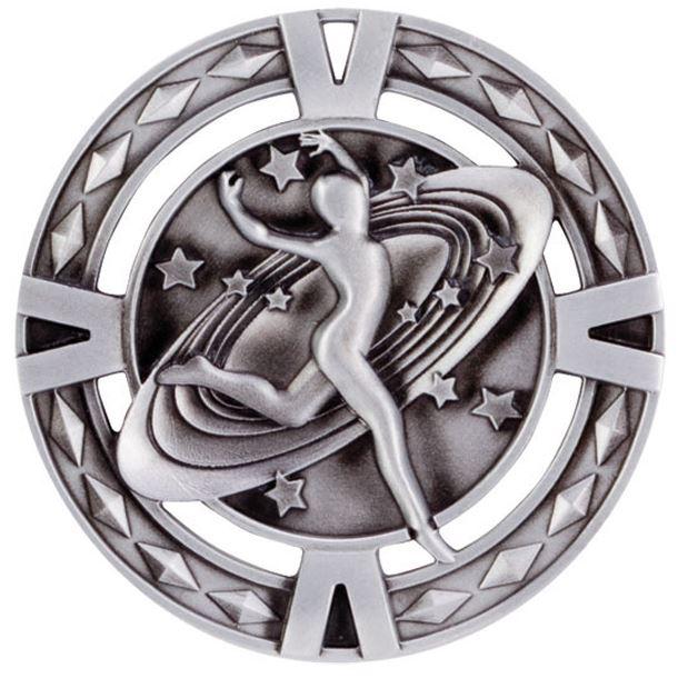 "Silver Diamond Pattern Dance Medal 60mm (2.25"")"