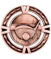 "Bronze Diamond Pattern Golf Medal 60mm (2.25"")"
