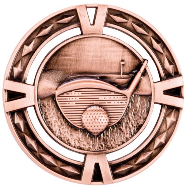 "Bronze Diamond Pattern Golf Medal 60mm (2.25"")"
