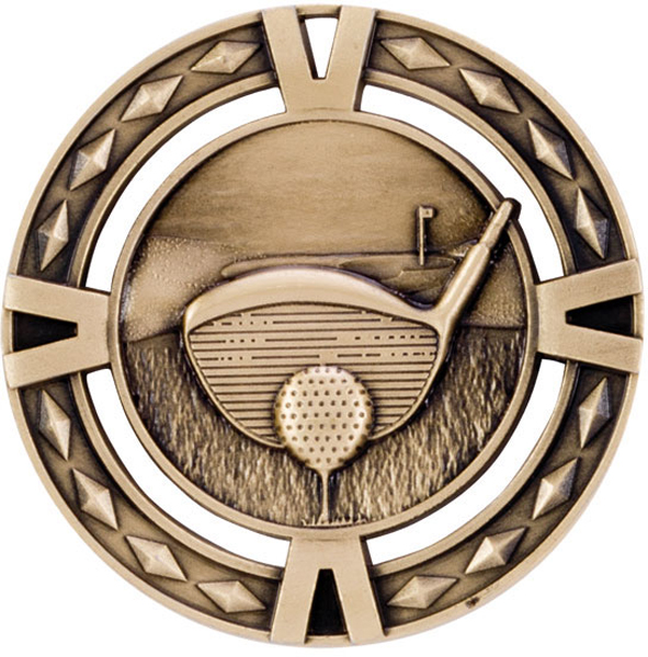 "Gold Diamond Pattern Golf Medal 60mm (2.25"")"