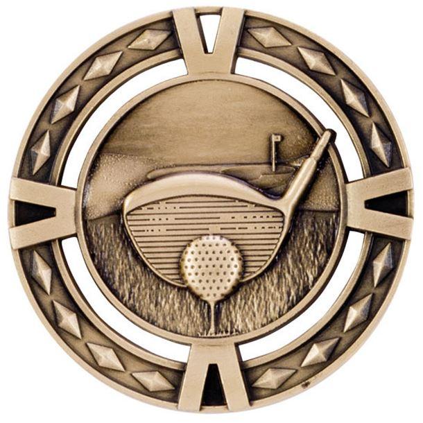 "Gold Diamond Pattern Golf Medal 60mm (2.25"")"