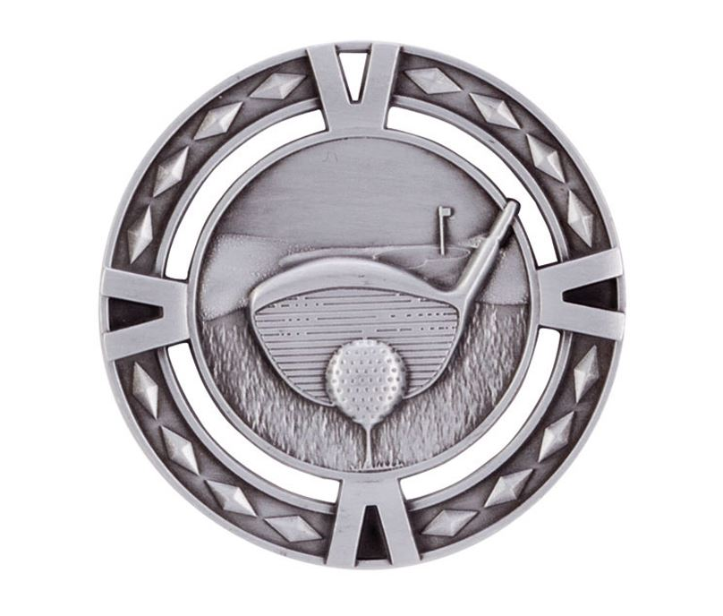 "Silver Diamond Pattern Golf Medal 60mm (2.25"")"