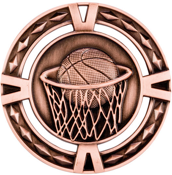 "Bronze Diamond Pattern Basketball Medal 60mm (2.25"")"