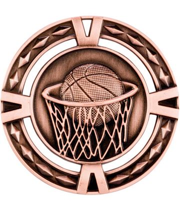 "Bronze Diamond Pattern Basketball Medal 60mm (2.25"")"