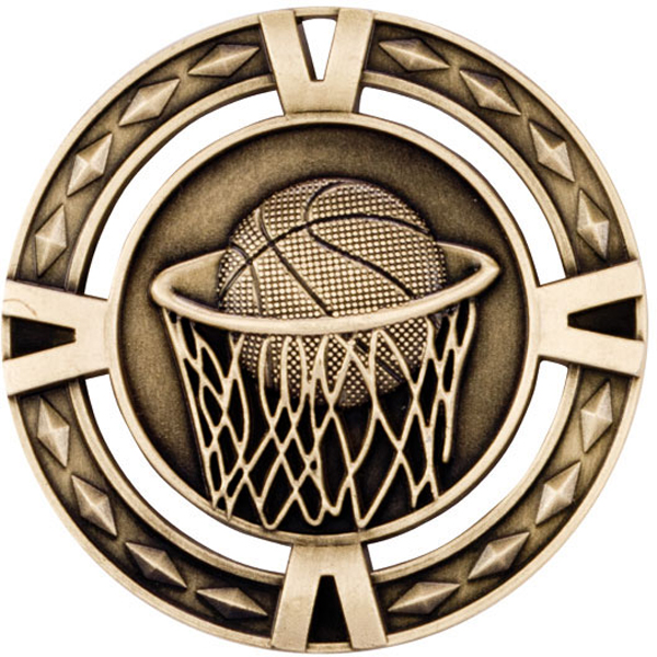 "Gold Diamond Pattern Basketball Medal 6cm (2.25"")"