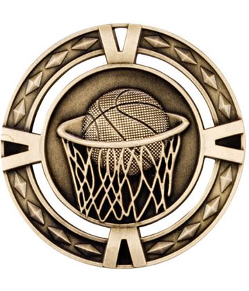 "Gold Diamond Pattern Basketball Medal 60mm (2.25"")"