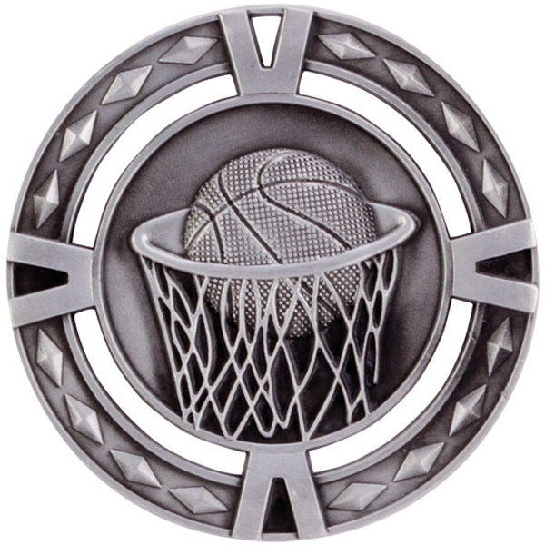 "Silver Diamond Pattern Basketball Medal 60mm (2.25"")"