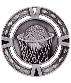 "Silver Diamond Pattern Basketball Medal 60mm (2.25"")"
