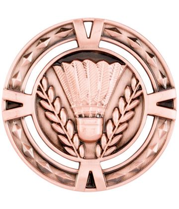 "Bronze Diamond Pattern Badminton Medal 60mm (2.25"")"