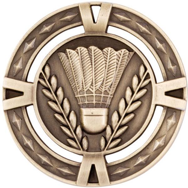"Gold Diamond Pattern Badminton Medal 60mm (2.25"")"