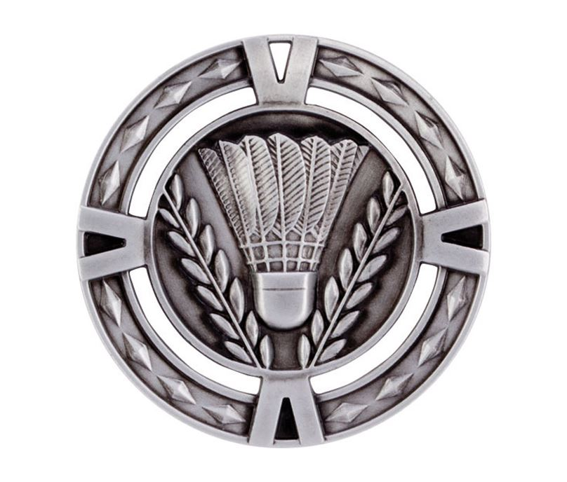 "Silver Diamond Pattern Badminton Medal 60mm (2.25"")"