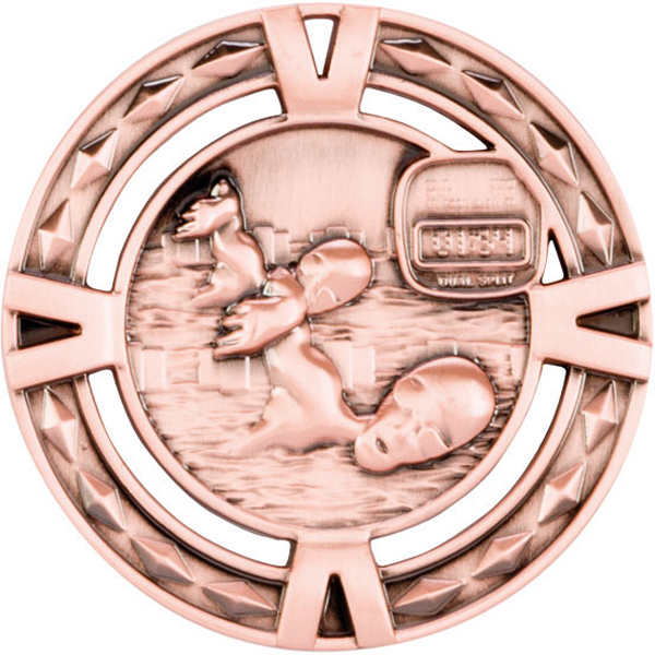 "Bronze Diamond Pattern Swimming Medal 60mm (2.25"")"