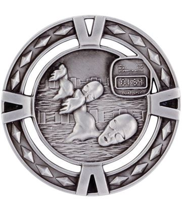 "Silver Diamond Pattern Swimming Medal 60mm (2.25"")"