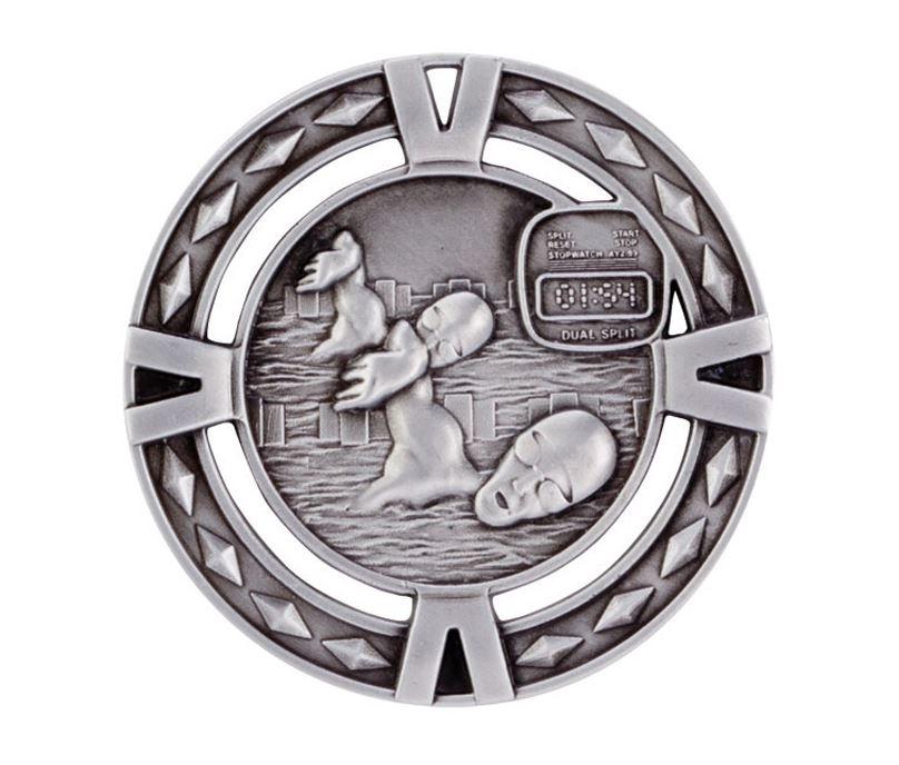 "Silver Diamond Pattern Swimming Medal 60mm (2.25"")"