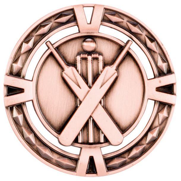 "Bronze Diamond Pattern Cricket Medal 60mm (2.25"")"