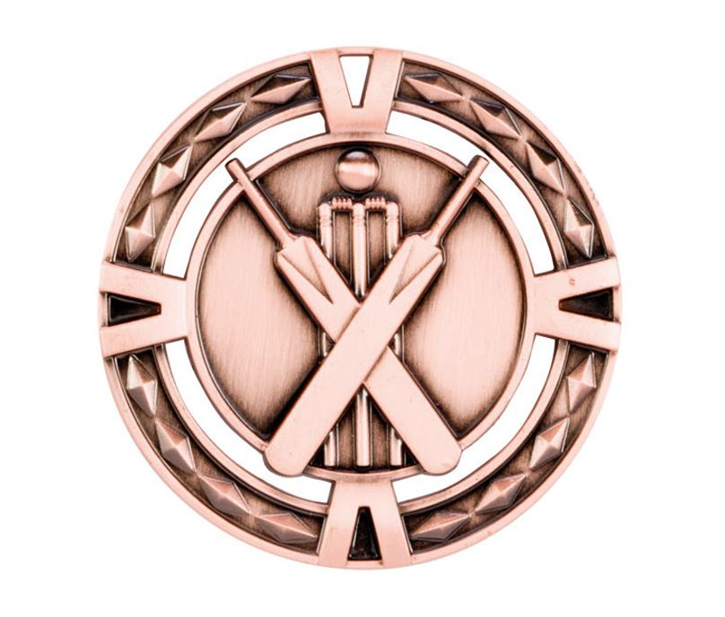 "Bronze Diamond Pattern Cricket Medal 60mm (2.25"")"
