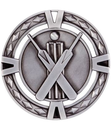 "Silver Diamond Pattern Cricket Medal 60mm (2.25"")"