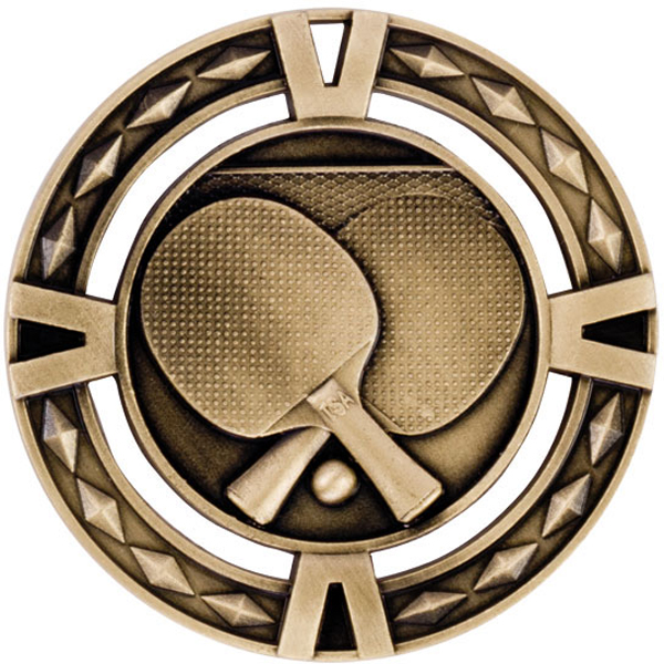 "Gold Diamond Pattern Table Tennis Medal 6cm (2.25"")"