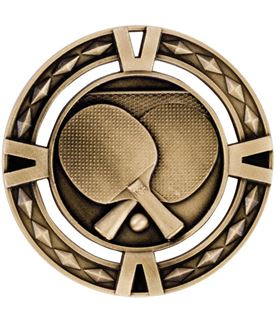 "Gold Diamond Pattern Table Tennis Medal 60mm (2.25"")"